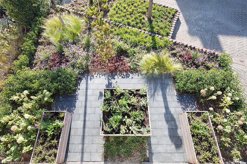 Strakke tuin in een dorp